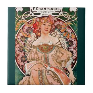 Champagne Woman - F. Champenois Imprimeur Tile