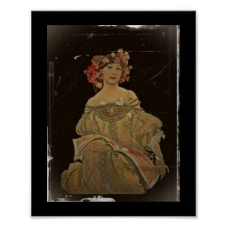 Champagne Woman on Black Poster