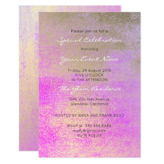 Champaign Gold Bright Rose Pink Metallic Minimal Card