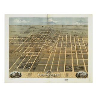 Champaign Illinois 1869 Antique Panoramic Map Poster