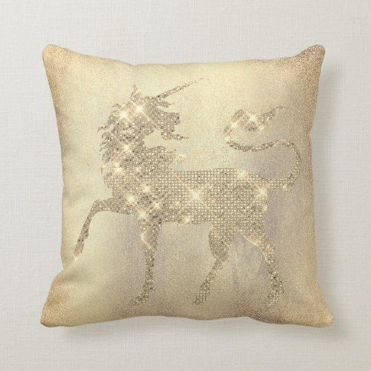 Champaign Sparkly Diamond Gold Unicorn Painting Cushion