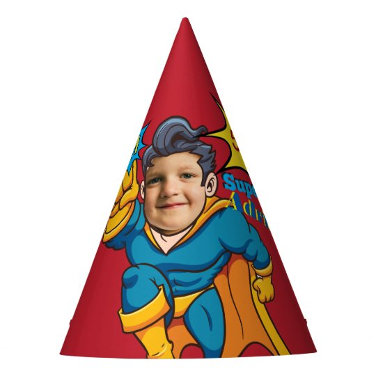 Champion Superhero Photo Template Birthday Party Hat