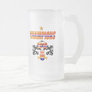 Champions 2010 Oranje Netherlands Soccer 16 Oz Frosted Glass Beer Mug