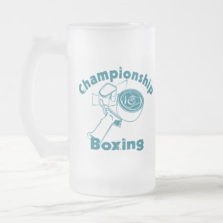 Championship Boxing Frosted Glass Beer Mug