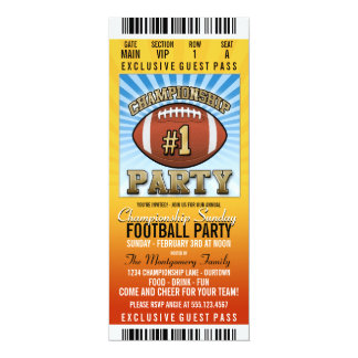 Championship Sunday Football Party 10 Cm X 24 Cm Invitation Card