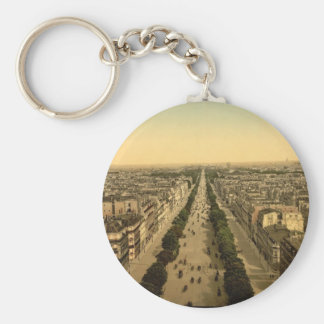 Champs Elysees, an avenue, Paris, France Basic Round Button Key Ring
