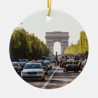 Champs Elysees and The Arc De Triomphe Round Ceramic Decoration
