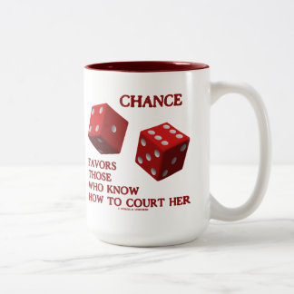 Chance Favors Those Who Know How To Court Her Dice Two-Tone Coffee Mug