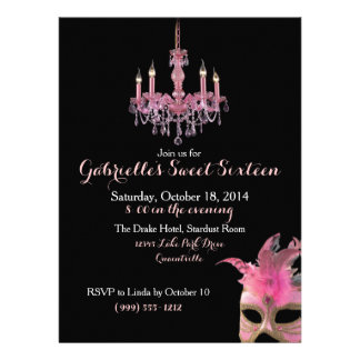 Chandelier and Masquerade Sweet 16 Invitations