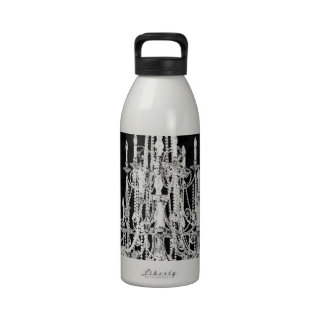 Chandelier Black Damask Drinking Bottle