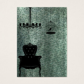 Chandelier, chair, and Birdcage Business Card