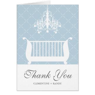 Chandelier Crib Baby Boy Shower Thank You Card