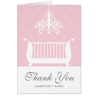 Chandelier Crib Baby Girl Shower Thank You Card