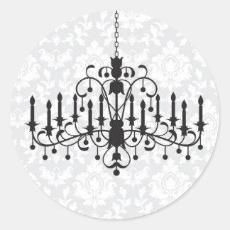 Chandelier Damask Round Sticker