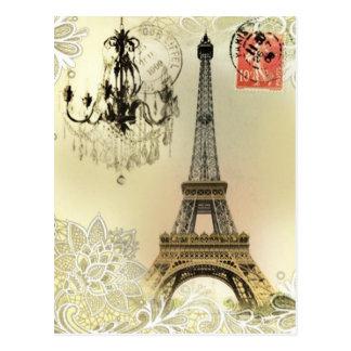 chandelier floral lace vintage paris eiffel tower postcard
