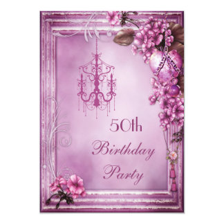 Chandelier, Heart & Flowers 50th Birthday Party 13 Cm X 18 Cm Invitation Card