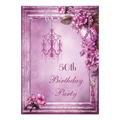 Chandelier, Heart & Flowers 50th Birthday Party Personalized Invitation