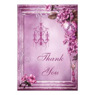 Chandelier Heart Flowers Wedding Thank You Custom Announcement