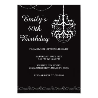Chandelier Invitation Adult Birthday Party Black