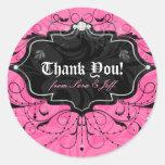 Chandelier Leaves Jewellery Pink Black Round Sticker