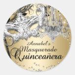Chandelier Masquerade Gold Quinceanera Sticker