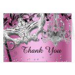 Chandelier Masquerade Pink Thank You Card