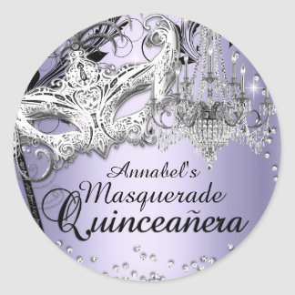 Chandelier Masquerade Purple Quinceanera Sticker