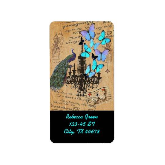 chandelier modern vintage peacock blue butterfly address label