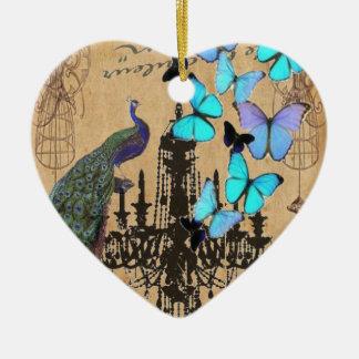 chandelier modern vintage peacock blue butterfly ceramic heart decoration