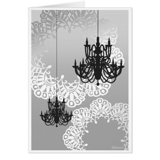Chandelier Note Card_Mono Note Card