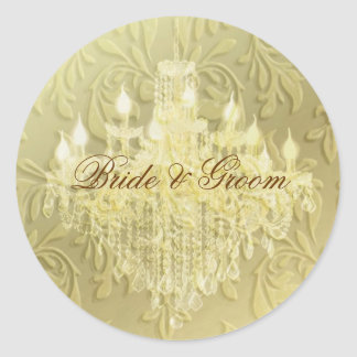 Chandelier on champagne baroque/faux velvet classic round sticker