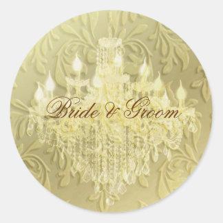 Chandelier on champagne baroque/faux velvet classic round sticker