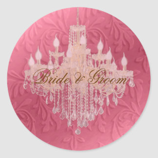 Chandelier on pink champagne/ baroque faux velvet stickers