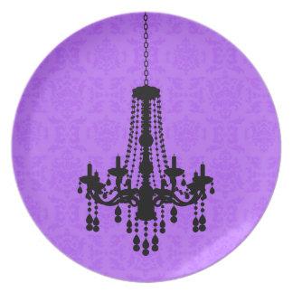 Chandelier on Purple Damask Plate