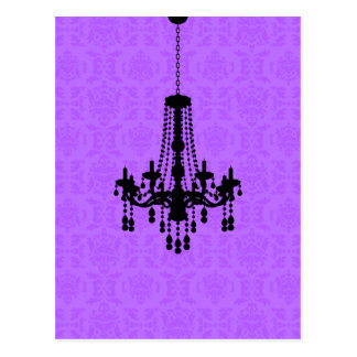 Chandelier on Purple Damask Postcard