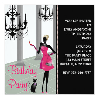 """Chandelier Party Dress Any Number Girls Birthday 5.25"""" Square Invitation Card"""