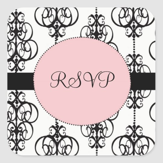 Chandelier Pink Square RSVP Wedding Envelope Seals