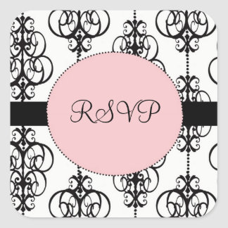 Chandelier Pink Square RSVP Wedding Envelope Seals Square Sticker