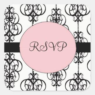 Chandelier Pink Square RSVP Wedding Envelope Seals Square Sticker