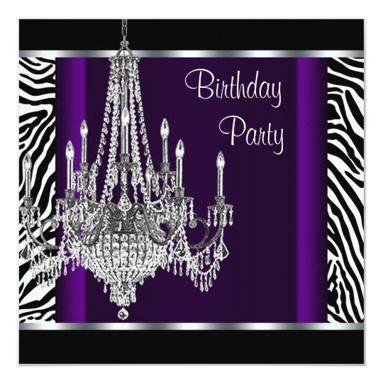 Chandelier Purple Zebra Birthday Party Card