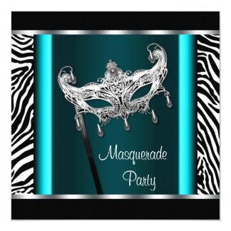 Chandelier Teal Blue Zebra Masquerade Party 13 Cm X 13 Cm Square Invitation Card