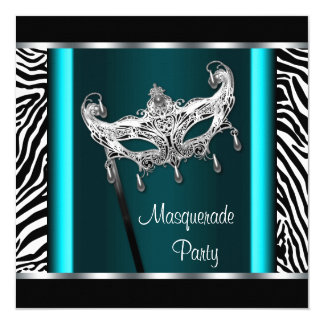 Chandelier Teal Blue Zebra Masquerade Party Card