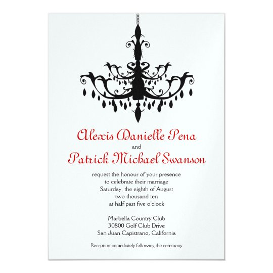 Chandelier Wedding Invitation, red & black Card