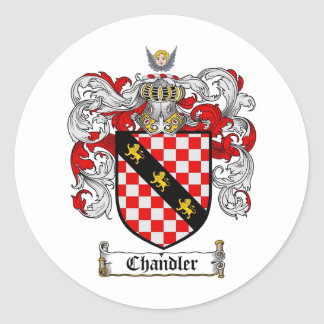 CHANDLER FAMILY CREST -  CHANDLER COAT OF ARMS ROUND STICKER