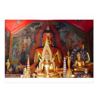 Chang Mai Buddhist Temple Thailand Gold Buddha Postcard