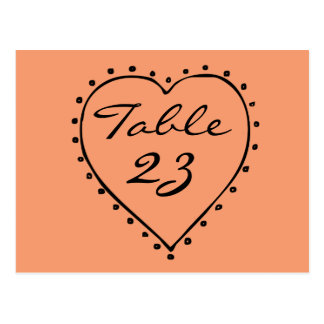 Change Background Color Heart Table Numbers Postcard