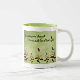 Change Butterfly Quote Two-Tone Coffee Mug