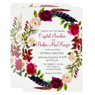 CHANGE COLOR - Burgundy Floral Wedding Invitation