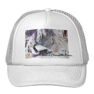 Change in Plans Snow Covered Picnic Table Pines Trucker Hat