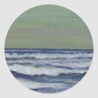Change in the Weather Ocean Waves Storm Seascape Round Sticker